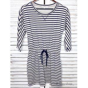 LOFT   Striped Drawstring Sweatshirt Dress